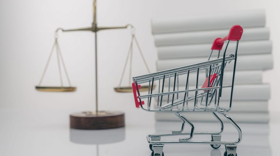 Shopping,Trolley,And,Symbol,Of,Law,And,Justice.,Consumer,Rights